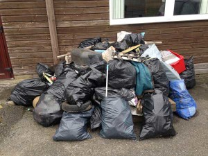 The rubbish collected during the Spring 2015 Litter Pick. Includes pinball machine.